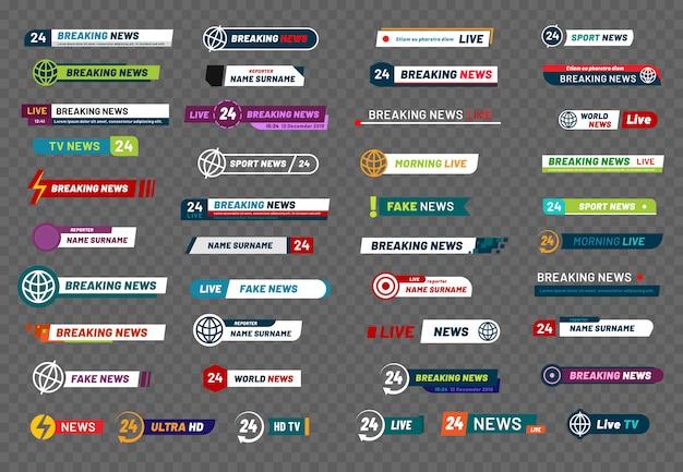 Pasek wiadomości telewizyjnych. telewizja telewizyjna tytuł mediów transparent, tytuły piłkarz lub interfejs sportu pokaż futbol na białym tle zestaw