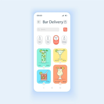 Pasek wysyłkowy zamówienia szablon wektor interfejsu smartfona w trybie dziennym