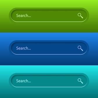 Pasek wyszukiwania dla interfejsu użytkownika, projektu i strony internetowej. wyszukaj adres i ikonę paska nawigacji.
