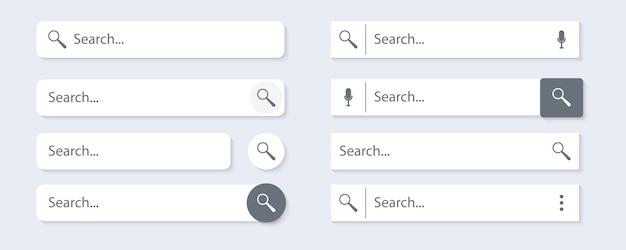 Pasek wyszukiwania programu i strony internetowej. ikona paska wyszukiwania i nawigacji. zbiór formularzy wyszukiwania witryn internetowych. .