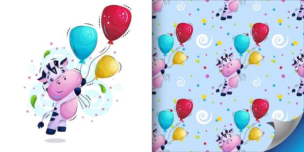 Pasiasta zebra leci z balonami