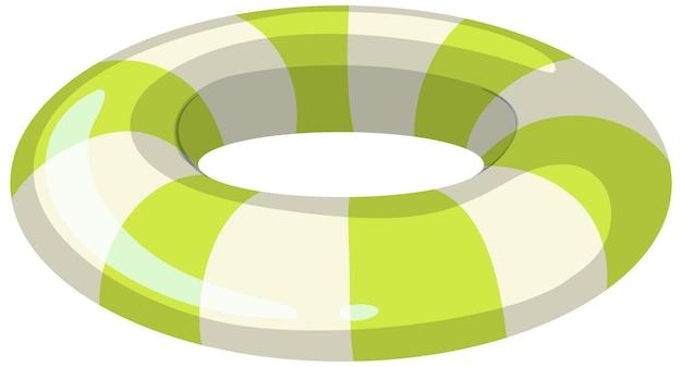 Pasiasty zielony i biały pierścień do pływania na białym tle