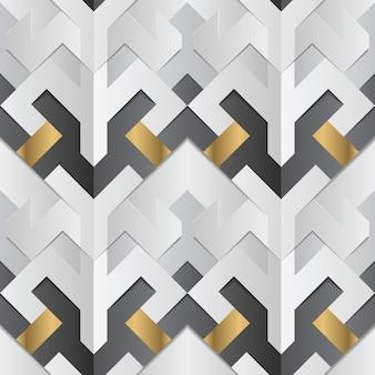 Paski geometryczne w kolorze białym i złotym