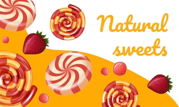 Paski kolorowe cukierki i jagody naturalne słodycze. naturalne cukierki. ilustracja wektorowa. karmel owocowy. sklep z cukierkami reklamowymi.