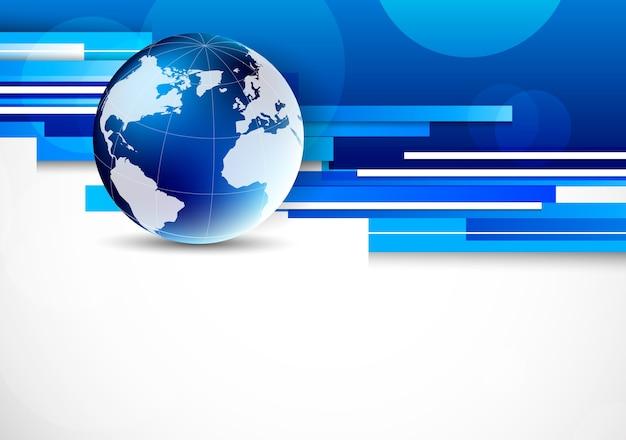 Paski Tło Z Niebieskim świecie. Streszczenie Ilustracja Niebieski Premium Wektorów