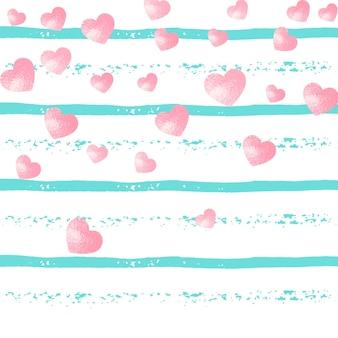 Paski w tle z turkusowymi liniami i sercami