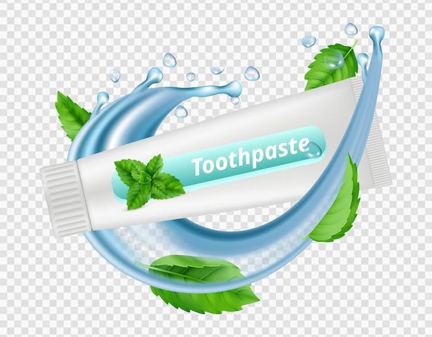 Pasta do zębów miętowa. plusk wody, liście mięty, tubka pasty do zębów na przezroczystym tle. ilustracja dentystyczny vectot