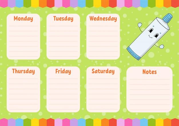 Pasta do zębów. plan zajęć w szkole rozkład zajęć dla uczniów. pusty szablon.