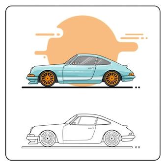 Pastel retro car easy editable