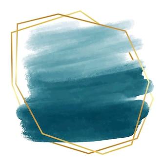Pastelowa niebieska akwarela ze złotą abstrakcyjną ramą