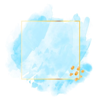 Pastelowa niebieska akwarela ze złotą ramą