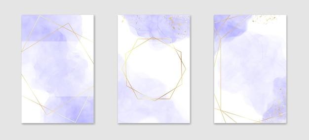Pastelowe fioletowe płynne tło akwarela ze złotymi liniami i ramką