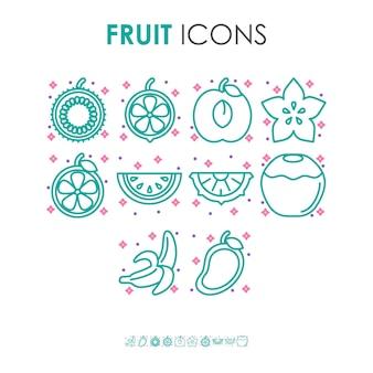 Pastelowe kolorowe ikony ilustracji organicznych owoców z małymi różowymi kształtami gwiazd