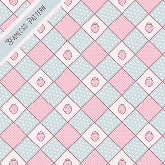 Pastelowe kolory kwadratów i truskawki wzór