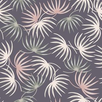 Pastelowe kolory tropikalnych kształtów liści bez szwu wzór w stylu doodle