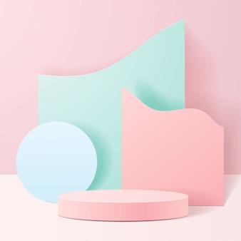 Pastelowe kształty na naturalnych. minimalna scena z geometrycznymi formami. cylindryczne podium w różowym tle. scena pokazująca produkt kosmetyczny, prezentację, wizytówkę, sklep, gablotę.