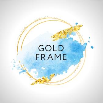 Pastelowe niebieskie plamy akwarelowe i złote linie. złota okrągła ramka konturowa.