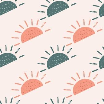 Pastelowe odcienie bezszwowe wzór z abstrakcyjnymi niebieskimi i różowymi etnicznymi kształtami słońca
