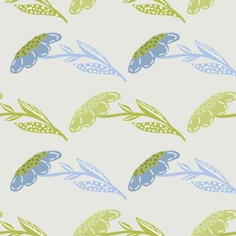 Pastelowe odcienie bezszwowe wzór z zielonymi i niebieskimi ozdobnymi abstrakcyjnymi kwiatami kształtami