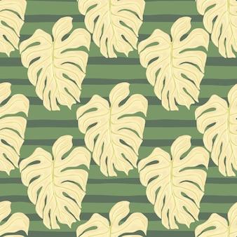 Pastelowe odcienie liści tropikalny wzór z jasnobeżowym nadrukiem monstera palmowego. zielone pasiaste tło. tło dekoracyjne do projektowania tkanin, nadruków na tekstyliach, zawijania, okładek. ilustracja wektorowa.