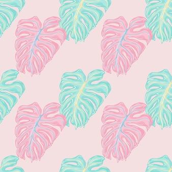 Pastelowe odcienie wzór z różowym i niebieskim konturem sylwetki monstera wydruku. pastelowe tło. tło dekoracyjne do projektowania tkanin, nadruków na tekstyliach, zawijania, okładek. ilustracja wektorowa.