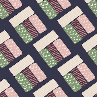 Pastelowe prostokątne sylwetki wzór. granatowe tło. figury geometryczne w kolorze białym, różowym, zielonym i ciemnobordowym.
