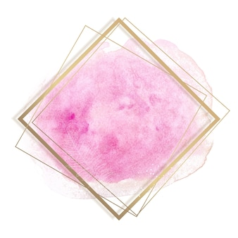Pastelowe różowe i różowe pociągnięcia pędzlem i złota ramka konturowa.