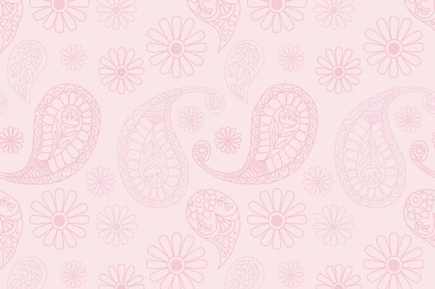 Pastelowe różowe indyjskie tło wzór paisley