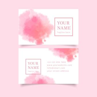 Pastelowe różowe kolory i pociągnięcia pędzlem wizytówka