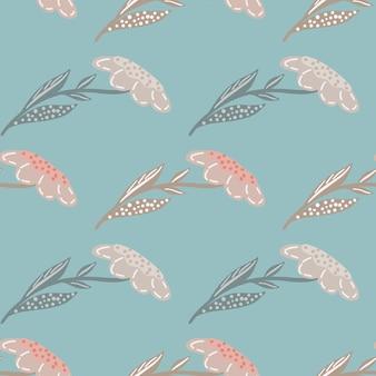 Pastelowe różowe kwiaty polne sylwetki wzór