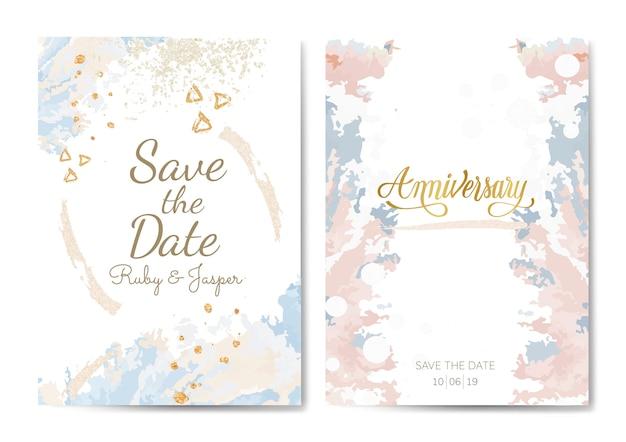 Pastelowe wesele i rocznica karty wektor