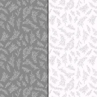 Pastelowe wzory botaniczne z ręcznie wyciągniętych gałęzi