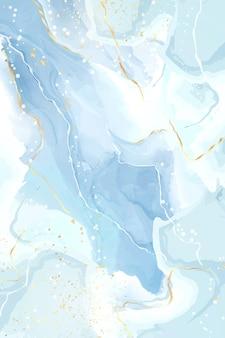 Pastelowy cyjan miętowy płynny marmur akwarela tło ze złotymi liniami i kropkami