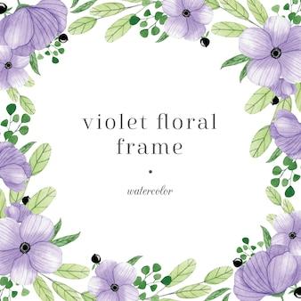 Pastelowy fioletowy akwarela kwiatowy rama