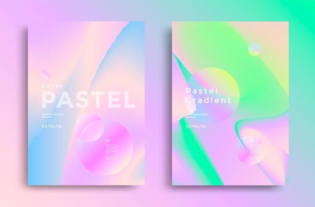 Pastelowy gradient obejmuje projekt. trendy w modzie lat 80. i 90. na książkę, ulotkę.