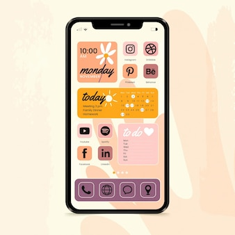 Pastelowy interfejs ekranu głównego