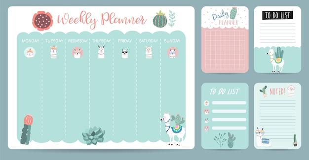 Pastelowy kalendarz tygodniowy z lamą, alpaką, kaktusem, może służyć do druku, notatnik, pamiętnik