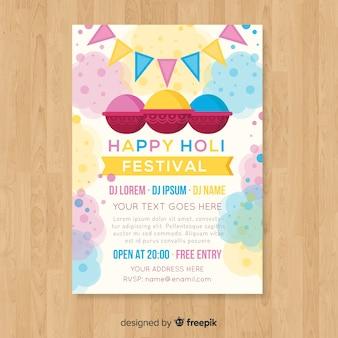 Pastelowy kolor holi festiwal party plakat