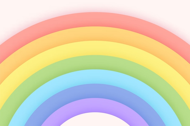 Pastelowy kolor tęczy tła na jasnym niebie cięcia papieru. koncepcja tła dla dziewcząt.