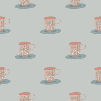 Pastelowy miękki bezszwowy wzór filiżanki herbaty.