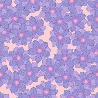 Pastelowy niebieski kwiat anemon kształtuje wzór. losowy kwiatowy nadruk botaniczny. pastelowe kolory. ilustracja wektorowa do sezonowych wydruków tekstylnych, tkanin, banerów, teł i tapet.