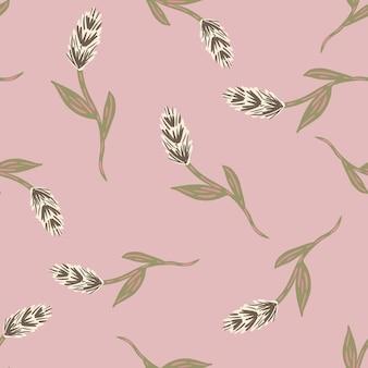 Pastelowy różowy kolorowy wzór z nadrukiem beżowym kłosem pszenicy. ręcznie rysowane tło zbiorów przyrody. projekt graficzny do owijania tekstur papieru i tkanin. ilustracja wektorowa.