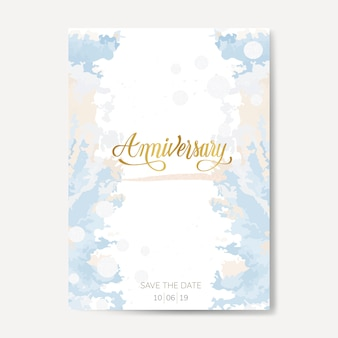Pastelowy ślub rocznica wektor karty