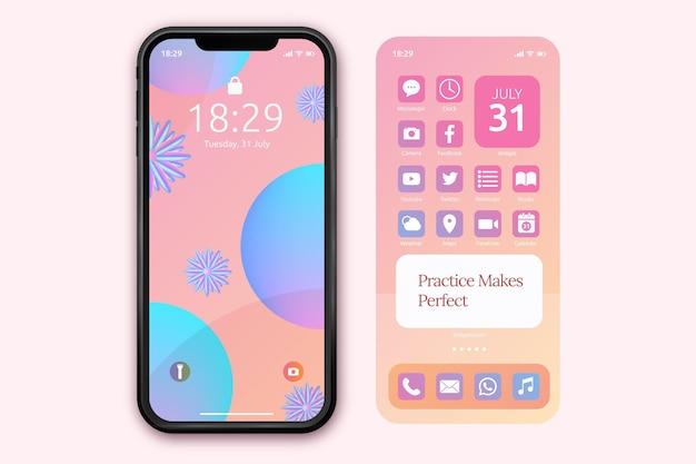 Pastelowy szablon ekranu głównego dla smartfona