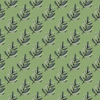 Pastelowy wzór doodle bez szwu z kształtami gałęzi małych liści. jasnozielone tło.