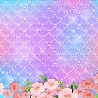 Pastelowy wzór w skali syreny z wieloma kwiatami