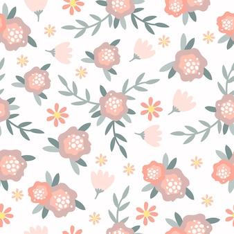 Pastelowy wzór z kwiatami