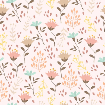 Pastelowy wzór z roślinami i kwiatami