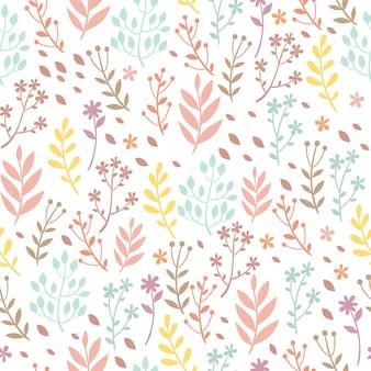 Pastelowy wzór z roślinami