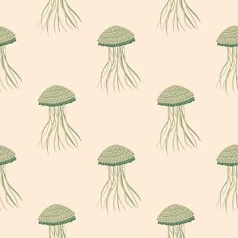 Pastelowy wzór z sylwetkami doodle meduzy. stylizowane podwodne zwierzęta w jasnych kolorach.